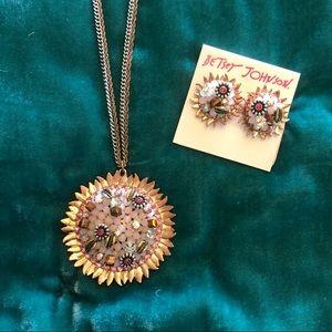 Rose Gold Pendant & Earring Set by Betsey Johnson